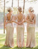 Wholesale Sey Sequined Bridesmaid Dress Bridal Sister Dress Long Slim Fit Formal Wear For Woman Plus Size and Colors Optional Champagne Gold Hot