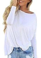 Wholesale Fashion Women s Ladies Loose Round Neck Tops Long Sleeve Shirt Casual White New