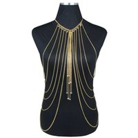 Wholesale Canlyn Crystal Beads Body Chains Bikini Body Waist Multi Layer Necklace Gold Body Harness for Women BC045