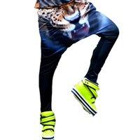 Wholesale New Hot women fashion female Harem Harajuku Elastic Loose Little Feet Capris Low Waist Tiger Printing Street Dance Pants