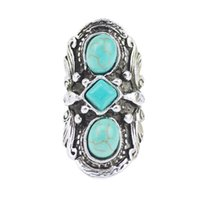 Wholesale 2016 Vintage Bohemian Turquoise Ring For Women Antique Silver Alloy Carving Ring Fashion Jewelry MM H210933