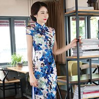Wholesale The Fashion Long Velvet Cheongsam Dress Chinese Auspicious Traditional Gown Modified Large Cheongsam Dress with XL