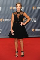 benz pictures - Julie Benz Celebrity Short Dresses Sheer Neck Lace Applique Cutaway Sides V Neck A Line Cap Sleeves Cocktail Length Prom Evening Gown