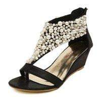 beaded zip ties - 2016 Brand New Fashion Rome Shiny Beaded Wedge Sandals low heeled wedding shoes