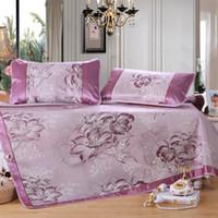 Wholesale 2016 New Ice silk Sleeping Mat Korea Style Sleeping Mat Foldable rattan summer sleeping mat Sheet Pillowcase Sets ice silk mat Free Ship