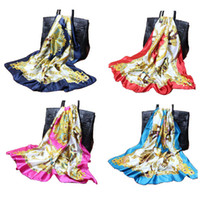 Wholesale new cm Autumn vintage square silk scarves women casual gorgeous print scarf shawl wrap Color