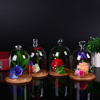 Wholesale High quality party delicate glass display case preserved flower vase birthday Chrismas gift with glass dome No L