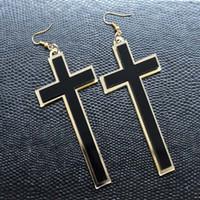 big cross earrings wholesale - Punk Fashion Vintage Big Long Black Acrylic Cross Drop Earrings For Women Club Party Jewelry Accessories