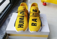 Wholesale NMD Human Race Runner Boost Pharrell s running shoes Trainers NMD Boost Running Shoes Hu race Williams Pharrell x White Black Red Yellow