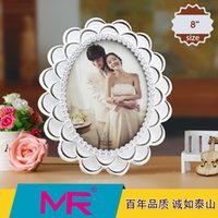 abs shapes - 8 inch photo frame oval shaped EU Vintage style ABS eco friendly material with D diamante embroidered picture frame can be standing