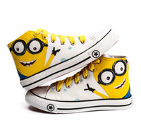 Wholesale Novelty Kids Children boys girls ankle boots shoes Han painting Despicable Me Minions Unisex Canvas shoes Casual Sneakers