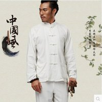 Wholesale Long Sleeve Cotton Traditional Chinese Clothes Tang Suit Top Men Kung Fu Tai Chi Uniform Fall Autumn Shirt Blouse Coat for Men