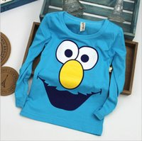 Wholesale 2016 New Sesame Street T shirt Elmo Tee Kids clothing Red And Blue Boys Girls T shirts Autumn Spring Long wear Cartoon Outfit Years