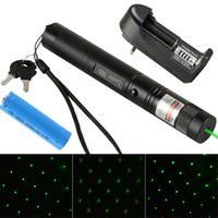 Wholesale Brand New Green Laser Pointer Pen nm Adjustable Focus Battery Charger US EU Adapter Set