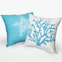 Wholesale 3 zebra creative pillow Mediterranean coral starfish Cuddle Pillow pillowcase linen sofa cloth
