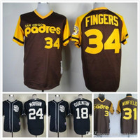 Wholesale San Diego Padres Baseball Johnny Manziel Jerseys Rollie Fingers Wil Myers Derek Norris Tony Gwynn Throwback Jersey