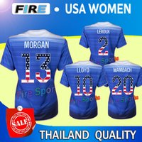 Tailandia de la calidad maillot de pie camisetas de fútbol 2015 USA mujeres azules Día de la Independencia USA 15 16 MORGAN LLOYD RAPINOE Copa Mundial SOLO 3 estrellas