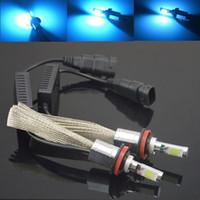 Wholesale 2x H3 H8 H11 LED Head Light W W V V CREE LM Car Xenon Blue Headlight Fog Lamp Light Kit Globes Bulbs