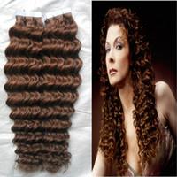 """Cheap 10-28"""" Tape Hair Extensions Virgin 100G Human Hair Tape In Hair Extension Skin Weft PU Hair Extension Remy 30 Auburn Brown Curly Tape Hair"""