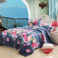Wholesale girls cheaper cotton fabric bedding set pc duvet quilt cover flat sheet pillow sham full queen gray blue pink floral print