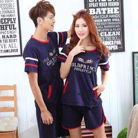 baseball pajamas - Summer Style Lovers Pajamas Men Baseball clothes Stripes Star Pijama Masculino Men And Women Couple Sleepwear Sets