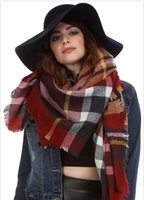 Wholesale Popular Women fashion Plaid Scarf Warm Soft Winter Blanket Pashmina Scarf Oversized Tartan Scarf women Shawl Scarf Scarves Wraps christmas