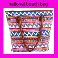 beach artwork canvas - DHL free Women Ladies Fashion mixclolor national Artwork Canvas Shoulder Bag big Messenger Bag Summer Beach Handbag Bags Totes