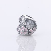 Wholesale promotion Solid Sterling Silver Charms Spring Flower heart shape pink enamel Beads Suitable For European Pandora Bracelets