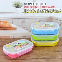 Wholesale Cartoon Children lunch boxes five grid points grid with lid stainless steel snack plate cafeteria tray
