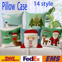 Wholesale Santa Claus Pillow Case Christmas Cushion Cover Cotton And Linen Cushion Cover Case Elk snowman Xmas Decoration WX P04