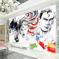 Wholesale Superman Wallpaper Barman D Marvel Comics Wall Mural Justice League Photo Wallpaper Kid Bedroom Super Hero wall covering Cartoon Room Decor