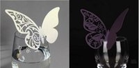 Wholesale Fashion Butterfly Glass Party Birthday Festive Event Table Decoration Supplies Wine card Gift Card Wedding DIY decorative cards
