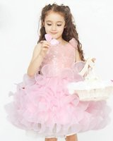Wholesale New Polyster Flower Girl Dress With Cascading Ruffles Dress For Girls High Quality Flower Girl Dress For Beach