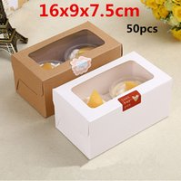 Wholesale 16x9x7 cm High quality clear plastic window kraft paper boxes Two grain load packaging cupcake Muffin egg tart gaine