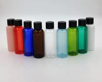 Wholesale travel bottle ml colorful pet bottle with black plastic screw cap plastic inside plug