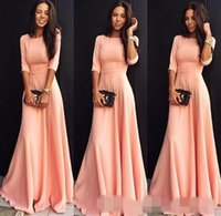 Wholesale Classic Short Bridesmaid Dresses - 2016 Cheap Coral Pink Long Satin Evening Dresses Long With Half Sleeves A-line Floor Length Party Guests Dress Bridesmaid Gowns Modest Cheap