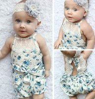 Wholesale 2016 Newborn Infant Baby Girl Bodysuit Floral Romper Jumpsuit Outfits Sunsuit Clothes