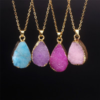 achat en gros de perles de larme de quartz-Goutte d'eau Druzy Collier Or-Tone Delicate Bezel Collier Pendentif Mode Drusy Agate Quartz Teardrop