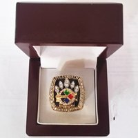 Cheap Free shipping! 2005 Super Bowl Replica PS Championship Ring Gold Plated World With Gorgeous Wooden Boxes