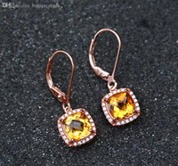 Cheap Wholesale-2015 New Natural citrine jewelry 925 Sterling Silver Jewelry hook earrings for women l yellow crystal New design