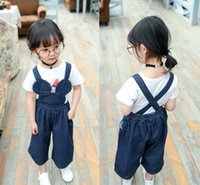Wholesale Kids Denim Pockets Style - 2016 latest girls denim pants children overalls kids suspender jeans cute girl brace Loose jeans girl's mickey style long trousers