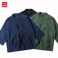Wholesale Fall Brand men s jacket clothing autumn wild robe shirt male fifth sleeve bandage street top Black Blue Green Colors