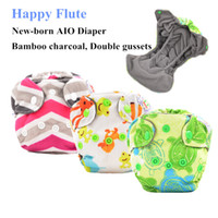 Wholesale Happy Flute Newborn Diapers Tiny AIO Cloth Diaper Bamboo Charcoal Double Gussets Inner Waterproof PUL Outer Fit lt KG Baby
