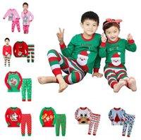 al por mayor pijamas de los nuevos niños-2016 New Kids 2 piezas de los trajes de Navidad 8styles Niños Niñas de Navidad de Santa pijamas Set pijamas de los niños del otoño del resorte de la ropa del sueño para 2-7T