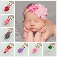 Wholesale 2016 infant pearl stretch headbands girl floral diamond headband headwear kids baby crystal hair bands colors