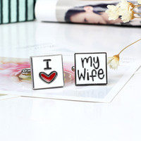 Wholesale High Quality Cuff Links Cufflinks for Men I Love My Wife Cuff Link Novelty Gift Husband Cufflinks Men Fashion Jewelry Cuff Links Accessories
