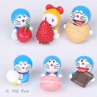 6pcs / lot figura linda de Doraemon mini juega la mini figura modelo de acción de la historieta del animado del estilo Doraemon del diverso determinado envío libre