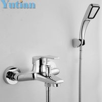 bathtubs brands - Polished Chrome Finish Brand New Wall Mounted shower faucet Bathroom Bathtub Handheld Shower Tap Mixer Faucet with hose pipe