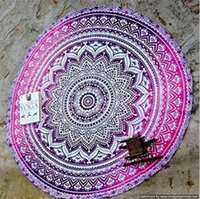 Wholesale New Types CM Round Beach Towel Bohemian Style Chiffon Polyester Fabric cm Beach Towels Round Printed Serviette Covers Christmas Gift