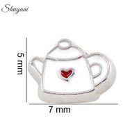 enamel teapot - White Teapot Charms for DIY Bracelet Silver Plated Enamel Floating Locket Charms for Living Glass Memory Locket Necklaces